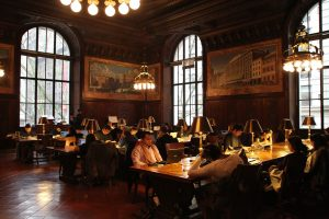 A reading room in the New York Public Library.