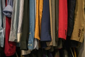 old clothes on the rack